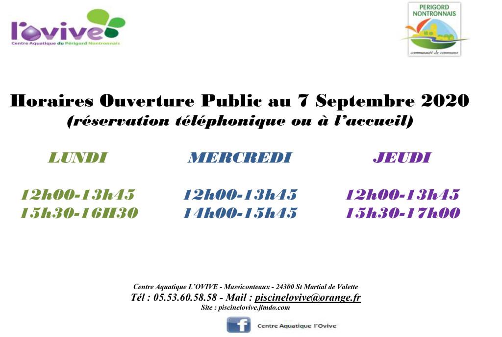 HorairePublic_Rentrée à partir semaine 42_COVID_2020 (1)nouveau