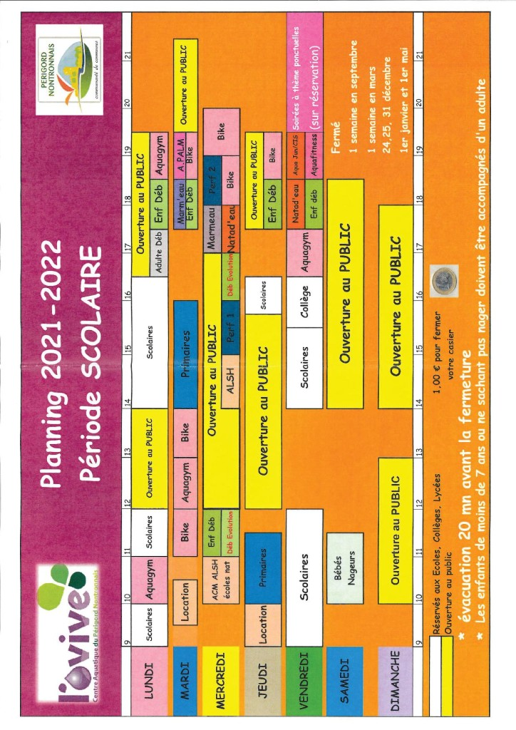 piscine planning activites 2021 2022