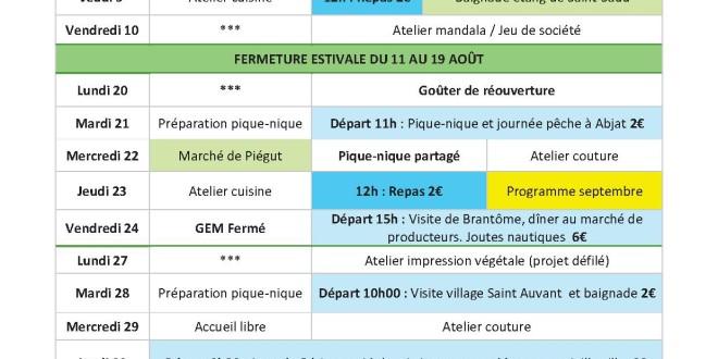 GEM : programme Août 2018