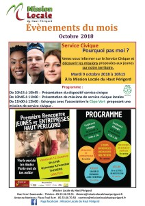 Affiche Evenements Mission Locale octobre 2018