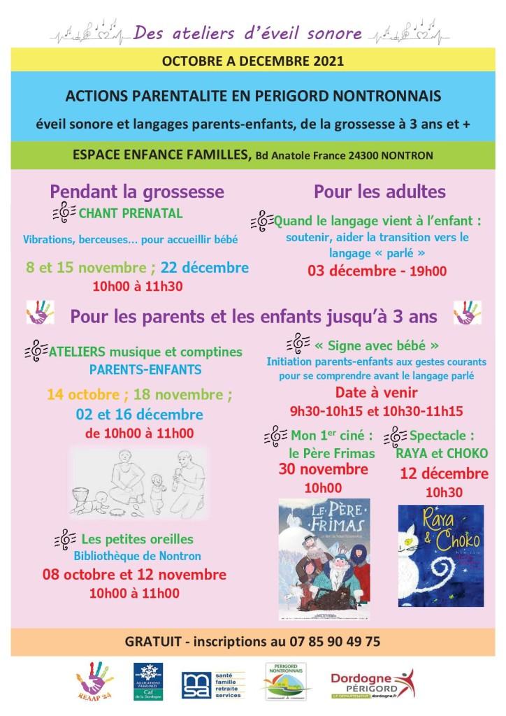 calendrier des actions parentalité 2021