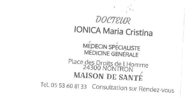 INSTALLATION D UN NOUVEAU MEDECIN A LA MAISON DE SANTE DE NONTRON