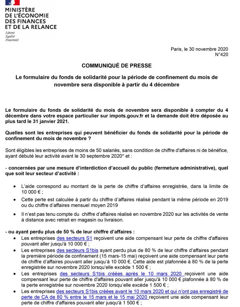 420 - Le formulaire du fonds de solidarité pour la période de confinement du mois de novembre sera disponible à partir du 4 décembre-1
