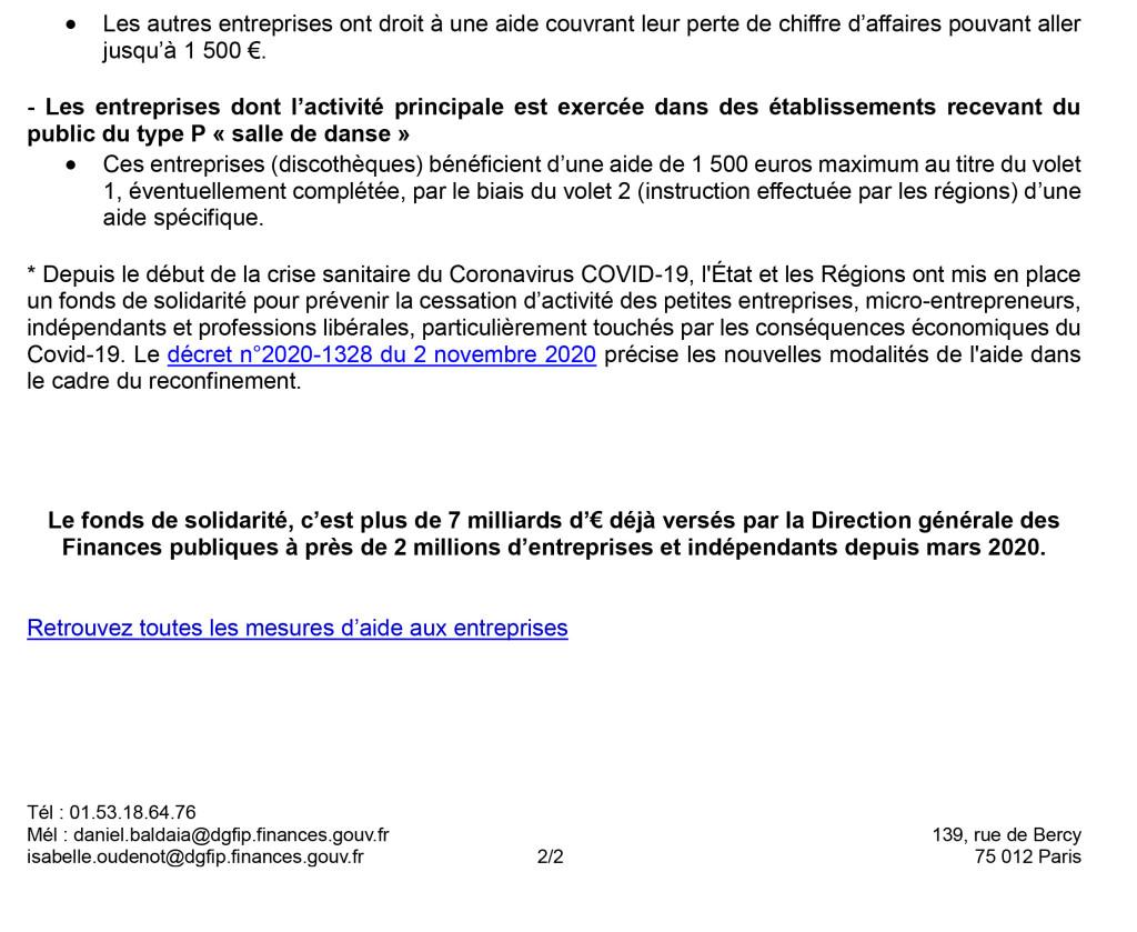 420 - Le formulaire du fonds de solidarité pour la période de confinement du mois de novembre sera disponible à partir du 4 décembre-2